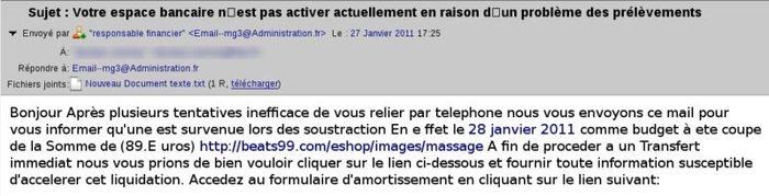 """Troyano email phishing francés"""