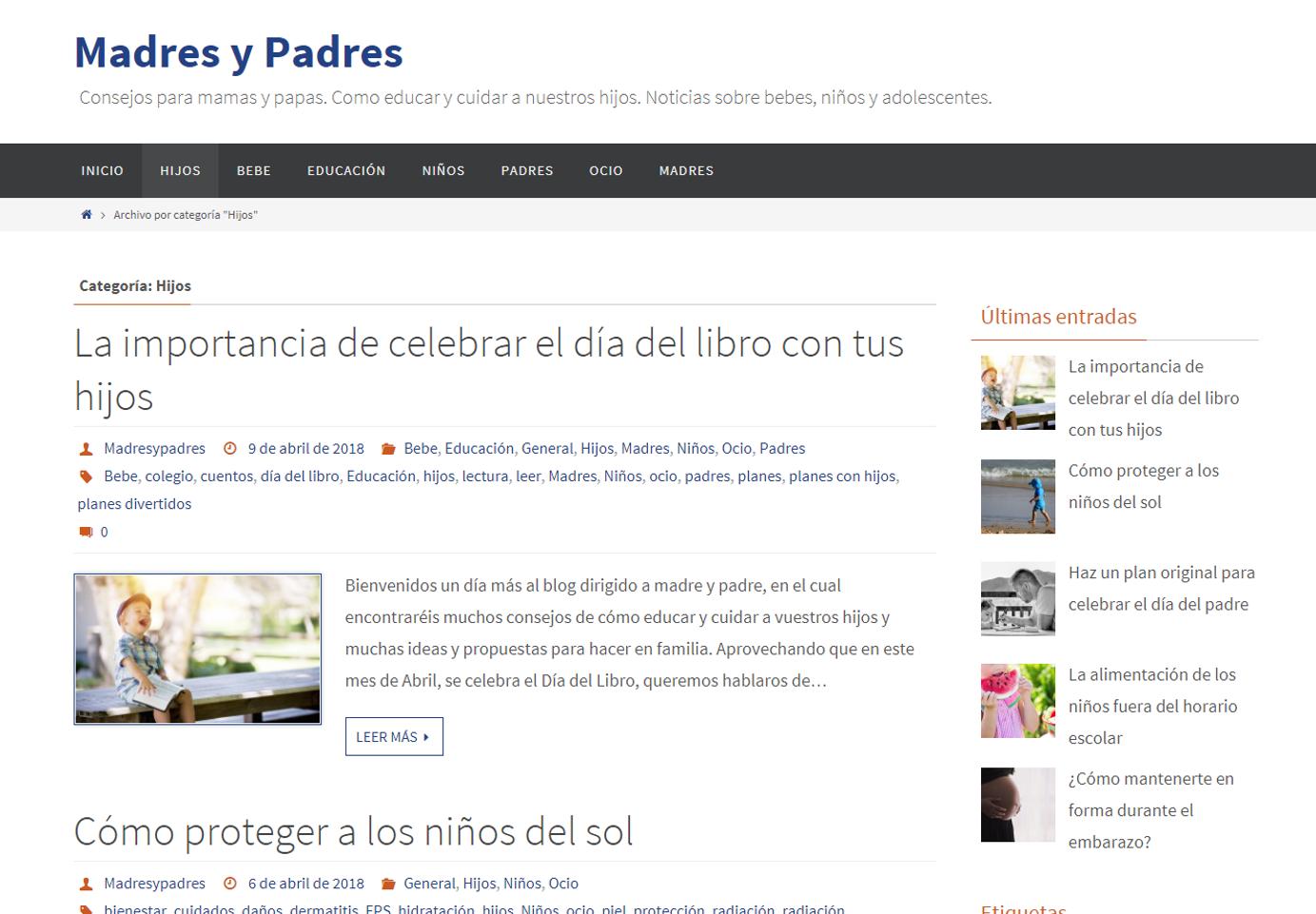Creación de un nuevo blog: madresypadres.net