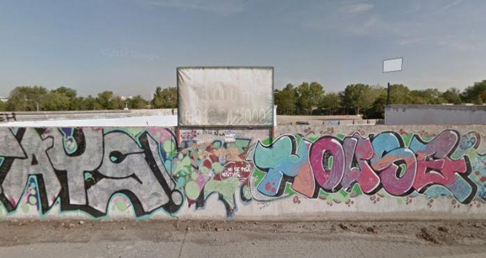 Fachada del antiguo club social Barajas., en la carretera de Barcelona.