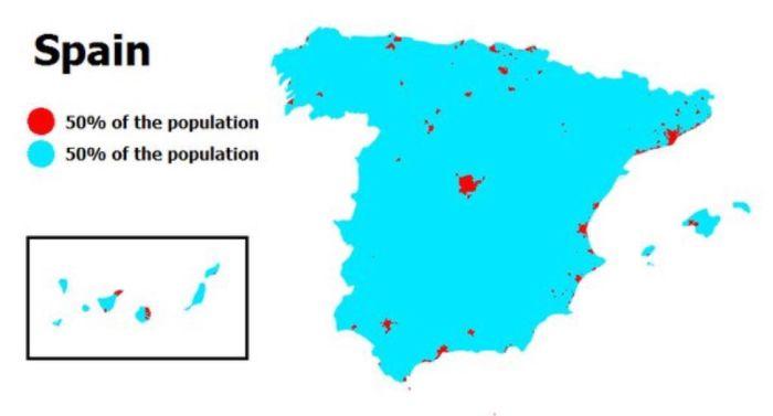 Mapa de calor que refleja la concentración de la población.