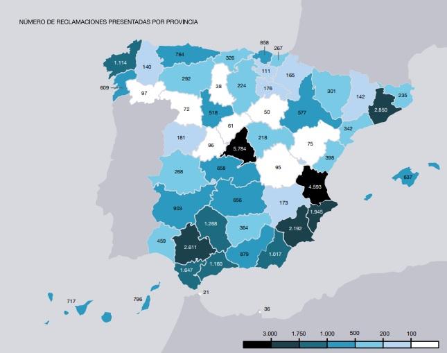 Reclamaciones Banco España mapa