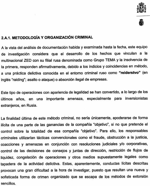 Extracto de Informe policial sobre las practicas de Letterone en la quiebra de ZED