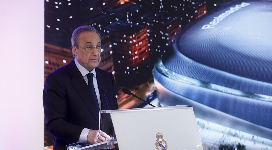 """93511f77f272 Florentino Perez durante la presentación del nuevo Bernabéu. Foto  Gtres. """""""