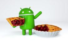 Andy (Android Pie) con un trozo de pastel