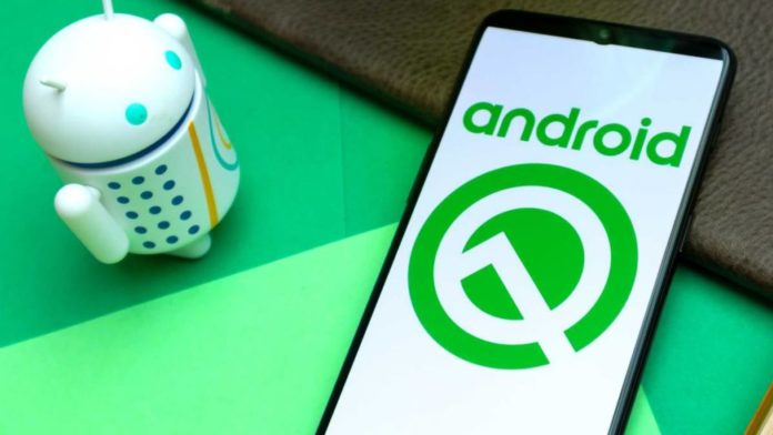 Android Q logo y mascota Andy