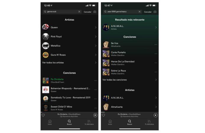 Spotify con modo oscuro