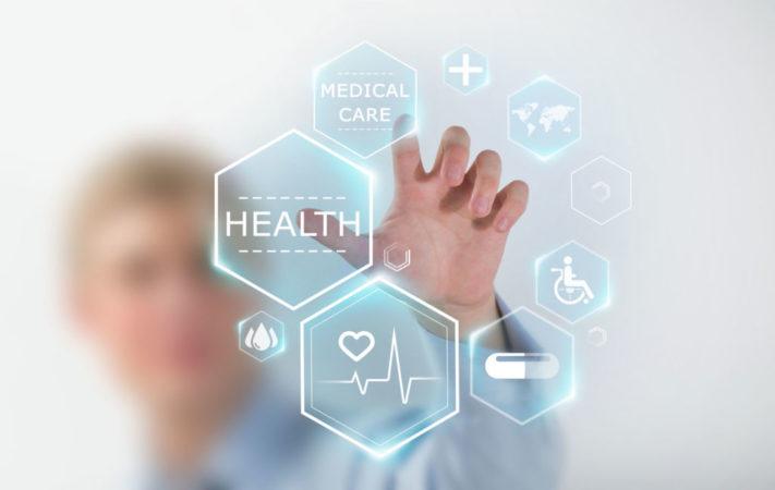 Iconos sobre salud en pantalla