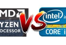 AMD Ryzen vs Intel Core (logos)