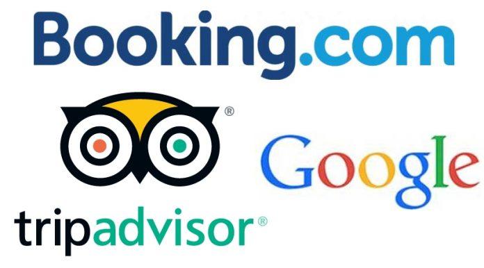 Logos de Booking, TripAdvisor y Google