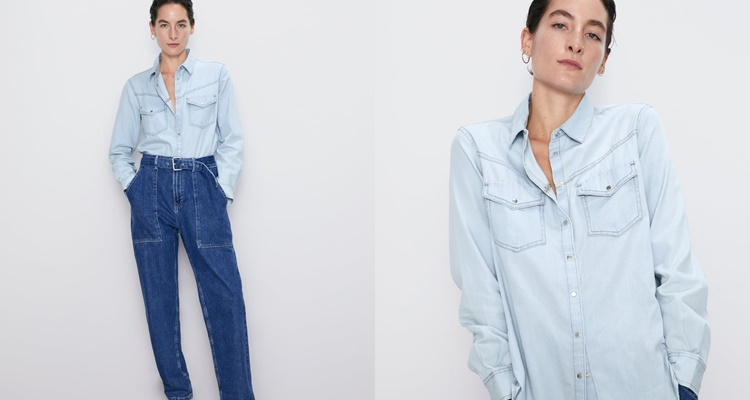 Camisa denim de Zara en color azul claro