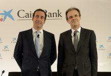 El consejero delegado de CaixaBank, Gonzalo Gortázar, y el presidente de la entidad, Jordi Gual.