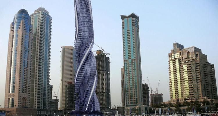 Monumentos futuristas la torre giratoria de Dubai