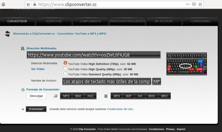 ClipConverter descargar Youtube