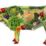 vegano, vaca hecha de vegetales