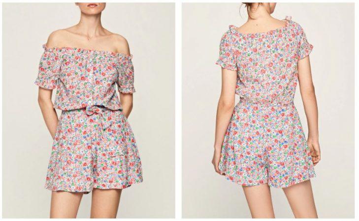 Falda pantalón de mujer con estampado de flores