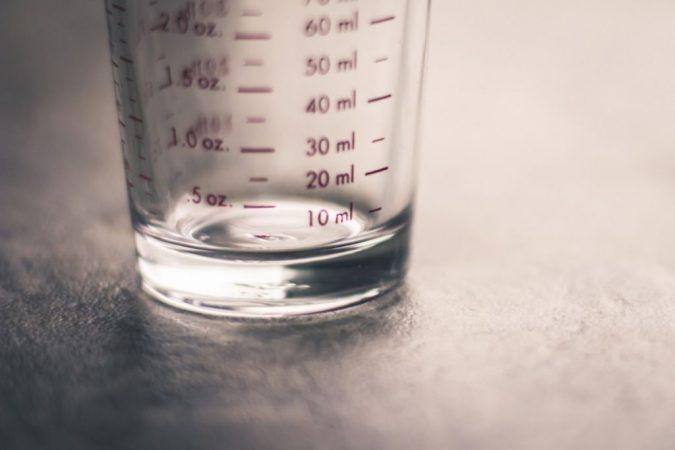 vaso medida, alcohol