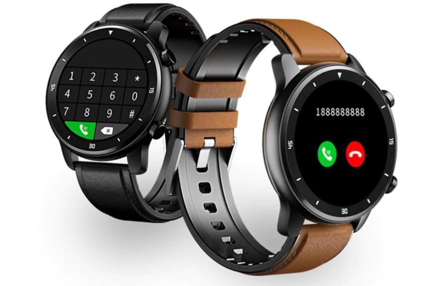 smartwatch con correa cuero