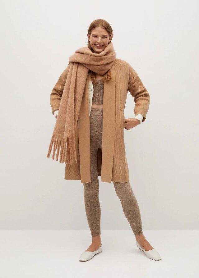 abrigo punto largo mango