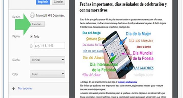 Destino PDF guardar página web