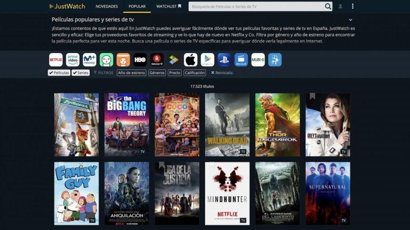 Cómo usar JustWatch para buscar películas o series de Netflix o HBO
