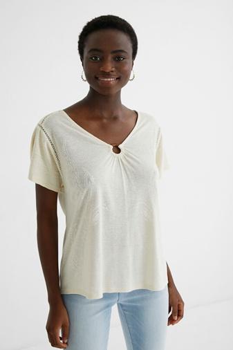 Camiseta lino look Desigual