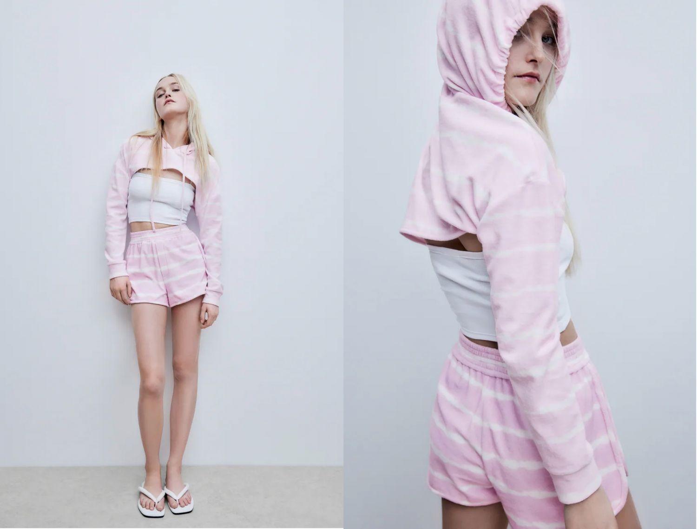shorts efecto toalla de Zara