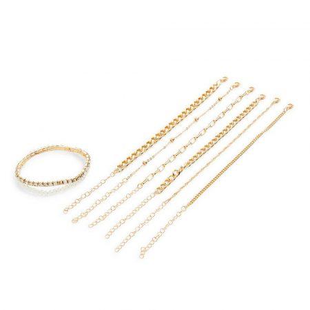 Pack de 8 pulseras de cadena de la amistad doradas