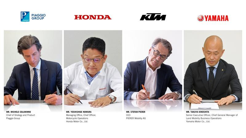 Piaggio, Honda, KTM y Yamaha acuerdan crear un consorcio de baterías intercambiables para motocicletas